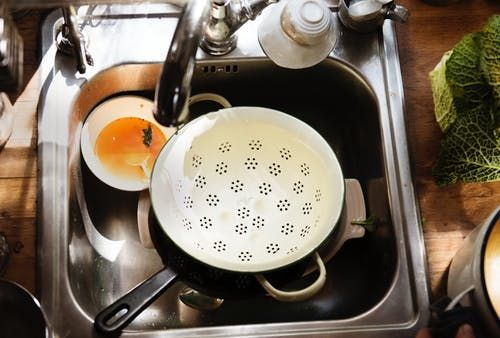 Sink filled with dishes